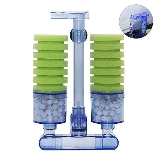 UPETTOOLS Aquarium Biochemical Sponge Filter, Ultra Quite Aquarium Air Pump Double Head Bio Sponge Fish Tank Foam Filter